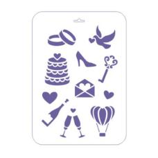 Трафарет пластиковый «Сонет» Свадебные иконки 22х31 см